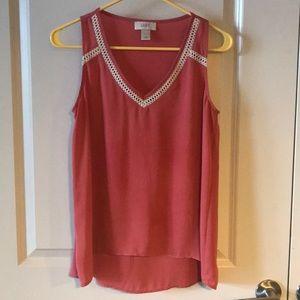 LOFT Size XS Pink Tank w/ Crochet Detailing
